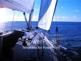 PowerPlugs: PowerPoint template with view of Atlantic ocean from cruise ship with blue cloudy sky