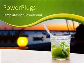 PowerPlugs: PowerPoint template with view of Balearic island sunset with transparent cocktail glass of mojito