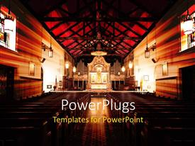 PowerPlugs: PowerPoint template with a view of a cathedral from the back with bright lights