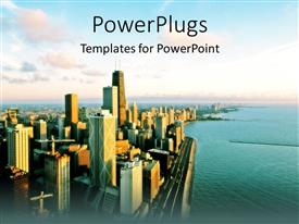 PowerPoint template displaying view of Chicago, urban city view with ocean and skyscrapers