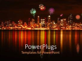 PowerPlugs: PowerPoint template with view of a city with fireworks and a river