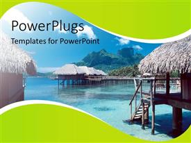 PowerPoint template displaying view of clear shallow water lake with huts around it