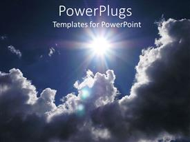 PowerPlugs: PowerPoint template with a view of cloudy sun in the sky