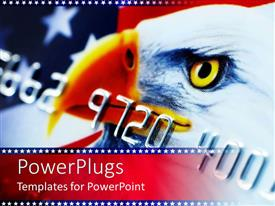 PowerPoint template displaying view of a credit card with an eagle and American flag on it