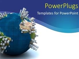 PowerPlugs: PowerPoint template with a blue earth globe with sky scrappers on a blue and white colored background