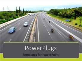 PowerPlugs: PowerPoint template with view of freeway cars driving by fast