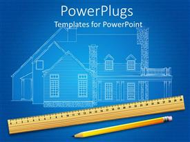 PowerPoint template displaying a view of a house plan with a pencil and a ruler