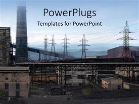 PowerPlugs: PowerPoint template with view of an industrial area with electrical power plants