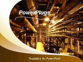 PowerPlugs: PowerPoint template with view of Industrial steel pipes and valves at a processing plant