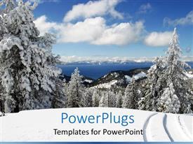 Presentation having view of Lake Tahoe and snowy trees with more in horizon