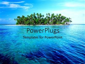 PowerPlugs: PowerPoint template with view of a large clear river with threes at the shore