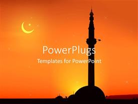 PowerPoint template displaying view of a mosque at sunrise