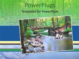 PowerPlugs: PowerPoint template with view of nature showing a lake and a wooden bridge