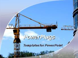 PowerPoint template displaying a view of a place undergoing construction over a clear sky