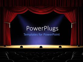PowerPlugs: PowerPoint template with view from rear of empty theater with spotlights on stage and open red curtain