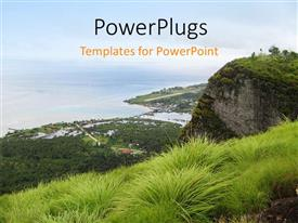 PowerPoint template displaying the view of the sea from the top of a mountain
