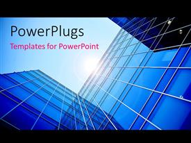 PowerPlugs: PowerPoint template with a view of the skyscraper with sun in the background