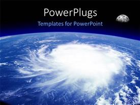 PowerPlugs: PowerPoint template with a view from space of a giant hurricane over the ocean with moon in background