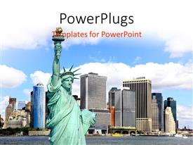 PowerPlugs: PowerPoint template with view of Statue of liberty with lower skyline of Manhattan