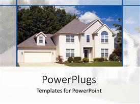 PowerPlugs: PowerPoint template with a villa with a lawn and clouds in the background