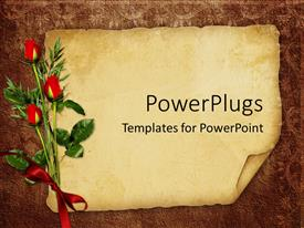 PowerPlugs: PowerPoint template with vintage background with old paper for invitation or postcards with three red roses tied with red ribbon