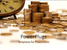 PowerPlugs: PowerPoint template with vintage clock with gold coin stack on white surface