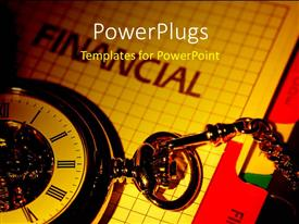 PowerPlugs: PowerPoint template with vintage clock over financial document depicting importance of time