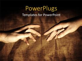 PowerPlugs: PowerPoint template with vintage clothing in background with two hands reaching out for each other