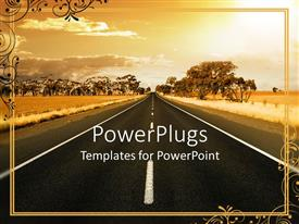PowerPlugs: PowerPoint template with vintage depiction of road going through a field and trees in the background
