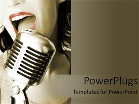 PowerPlugs: PowerPoint template with vintage depiction of a woman singing at a retro microphone