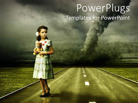 PowerPlugs: PowerPoint template with vintage depiction of a young girl in dress holding her tiger stuffed animal in front of tornado over the road