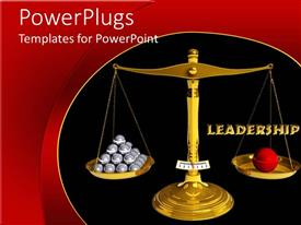 PowerPoint template displaying vintage golden balance scale with metal balls on plates
