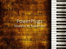 PowerPoint template displaying vintage looking music themed background with old music sheets and piano keyboard