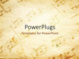 PowerPlugs: PowerPoint template with vintage paper background depicting music sheet with musical notes