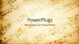 PowerPoint template displaying vintage paper background depicting music sheet with musical notes