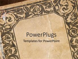 PowerPlugs: PowerPoint template with vintage slightly rumpled book cover with religious inscriptions as frame