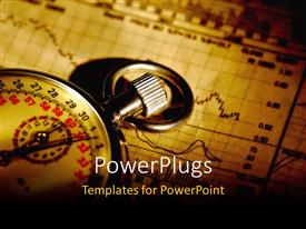 PowerPlugs: PowerPoint template with vintage stop watch laying on stock market charts