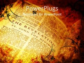 PowerPlugs: PowerPoint template with vintage style bible showing the book of revelations