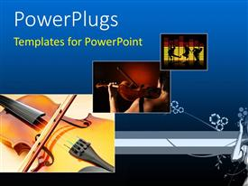 PowerPlugs: PowerPoint template with three tiles showing violins an people dancing