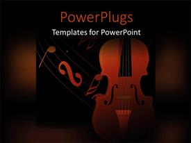 PowerPlugs: PowerPoint template with a violin with a lot of music signs in background