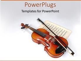 PowerPlugs: PowerPoint template with violin sitting on vintage music sheet on white background