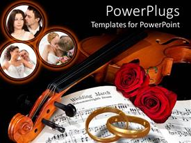 PowerPoint template displaying violin with two roses and interlocked rings with pictures of lovers