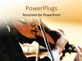 PowerPlugs: PowerPoint template with violinist playing symphony with brown color