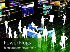 PowerPlugs: PowerPoint template with virtual meetings, web conference metaphor with binary code and people watching presentation