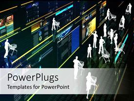 PowerPlugs: PowerPoint template with virtual shopping representation with touchscreen and people with shopping carts
