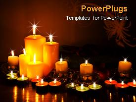 PowerPoint template displaying votive, tea light and pillar candles burning, spa, relaxation