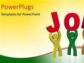 PowerPlugs: PowerPoint template with text which spell out the word 'job' with some characters on it