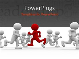 PowerPlugs: PowerPoint template with leadership depiction with red colored 3D man running in opposite direction