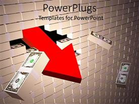 PowerPlugs: PowerPoint template with wall built with stacks of dollar bill as bricks breaks