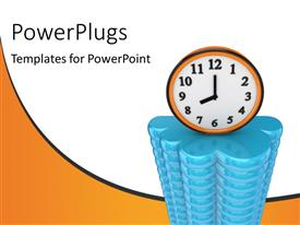 PowerPlugs: PowerPoint template with wall clock sitting on large cloud computing symbol